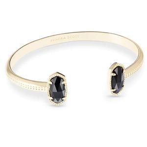 NWOT Kendra Scott Black Opaque Glass Gold Cuff